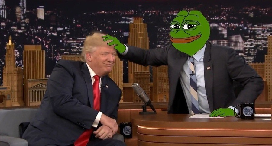 Pepe The Frog Pepe messes up Donald Trump's hair